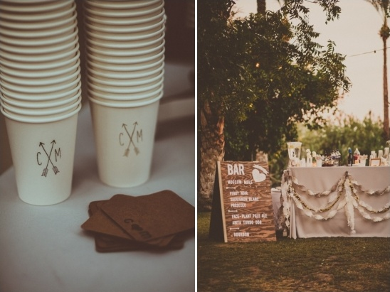 customized drink cups and DIY bar sign