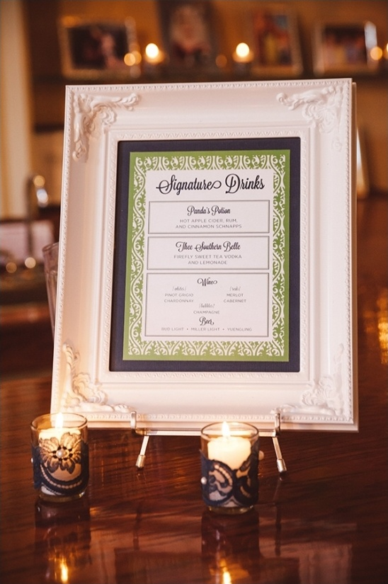 Signature drink menu framed