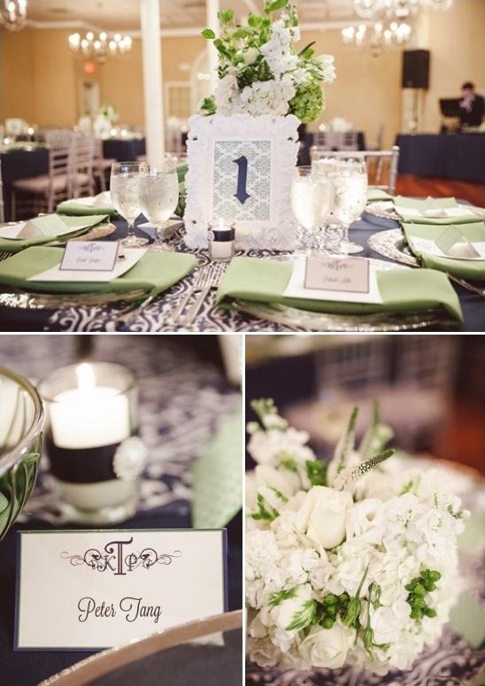 green and navy wedding reception