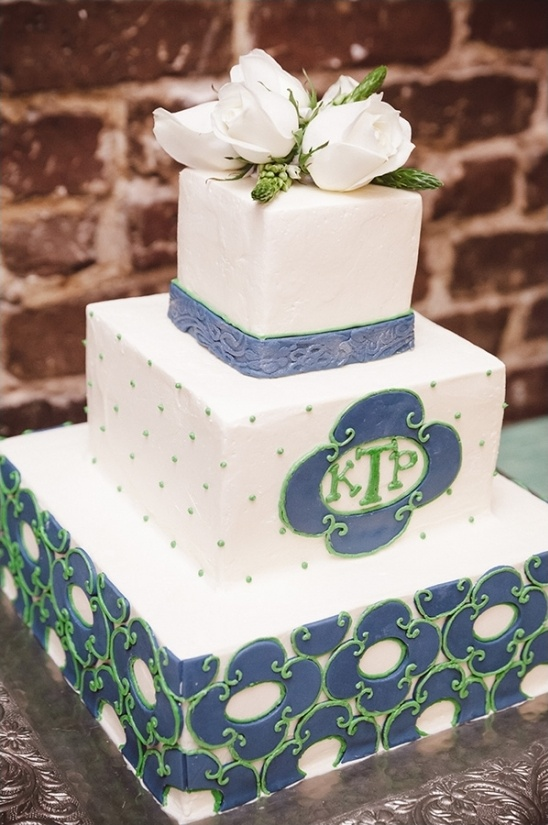 blue and green square tiered wedding cake