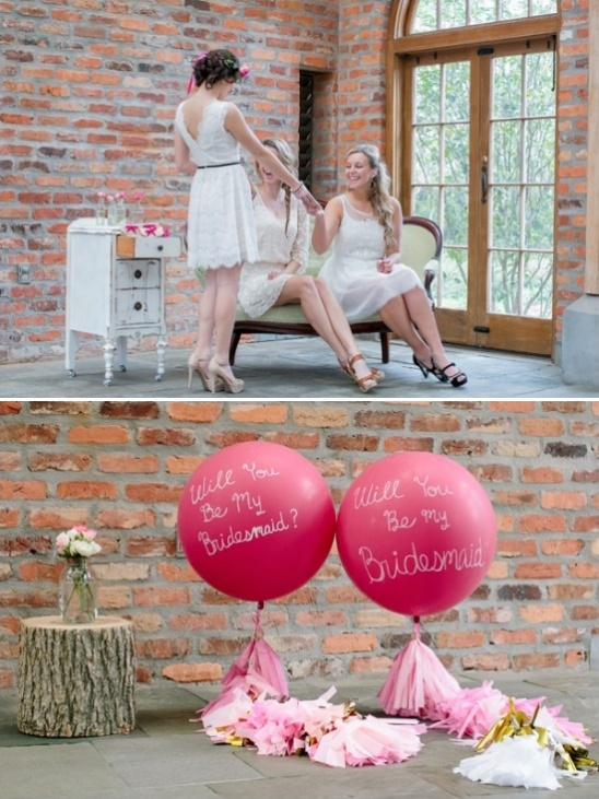 handmade will you be my bridesmaid balloons with tassel tails