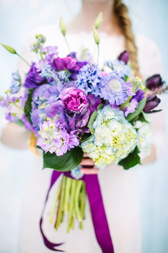 bright purple and icy blue bouquet by Calie Rose