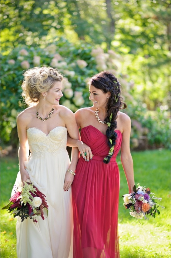 red maid of honor dress