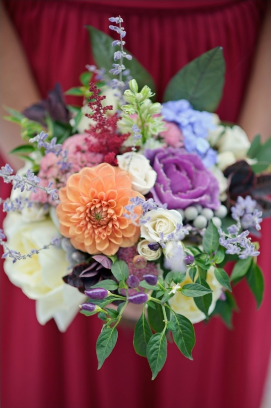 brightly colored bridesmaid bouquet
