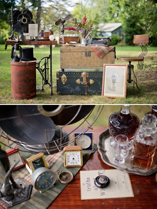 vintage whiskey and guestbook table