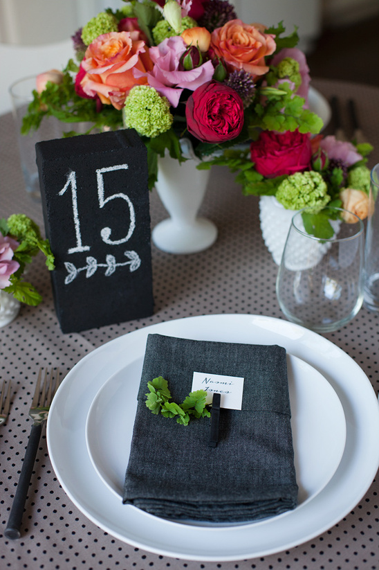 DIY chalkboard brick table number and clothes pin place card
