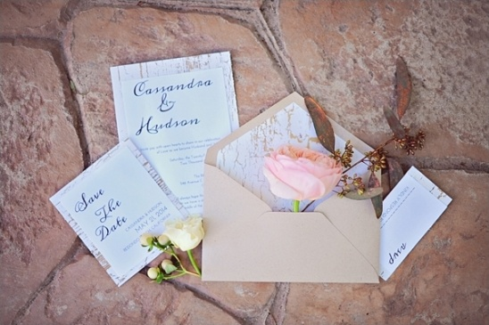gold crackle wedding invitations