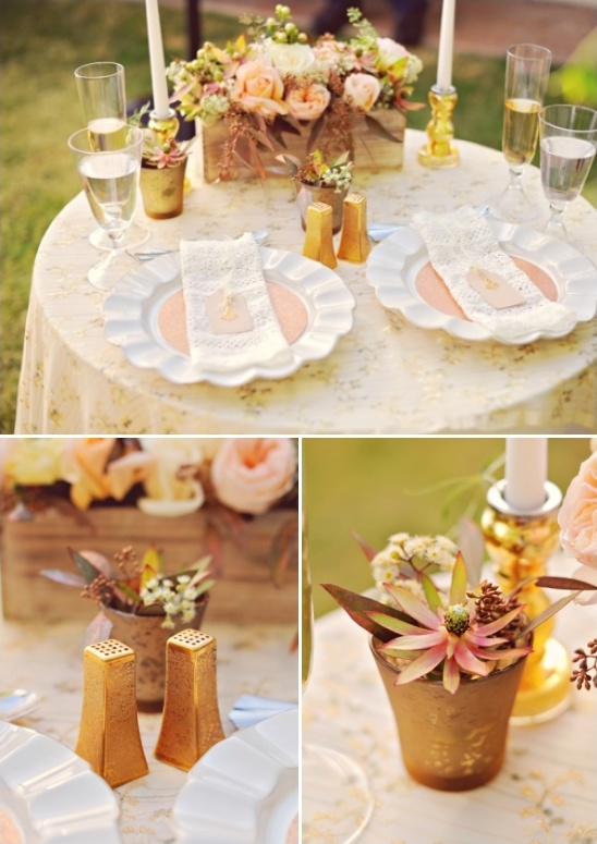 gold sweetheart table details and decor