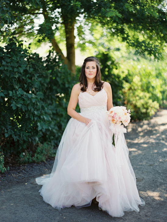 soft pink Haley Paige wedding gown