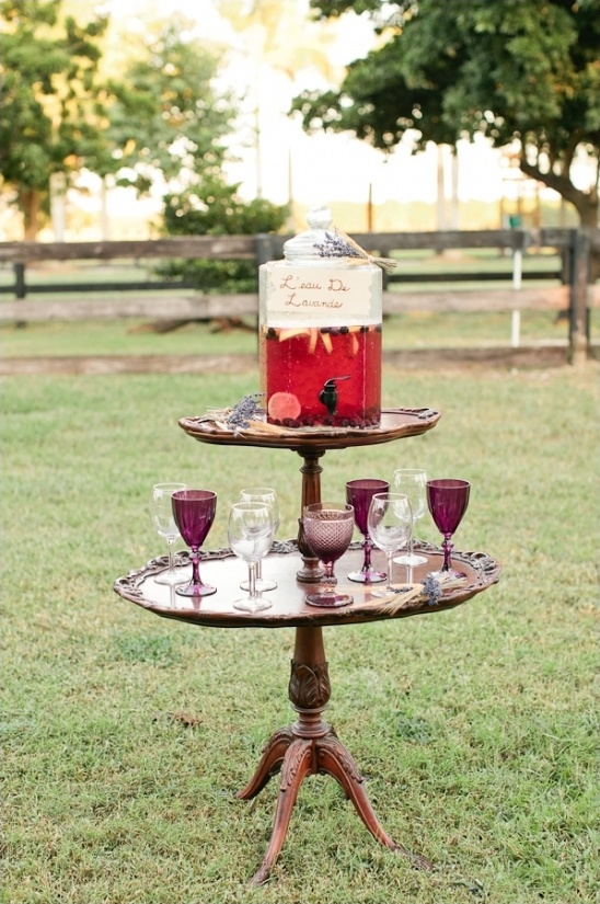 berry lemonade stand with vintage glassware