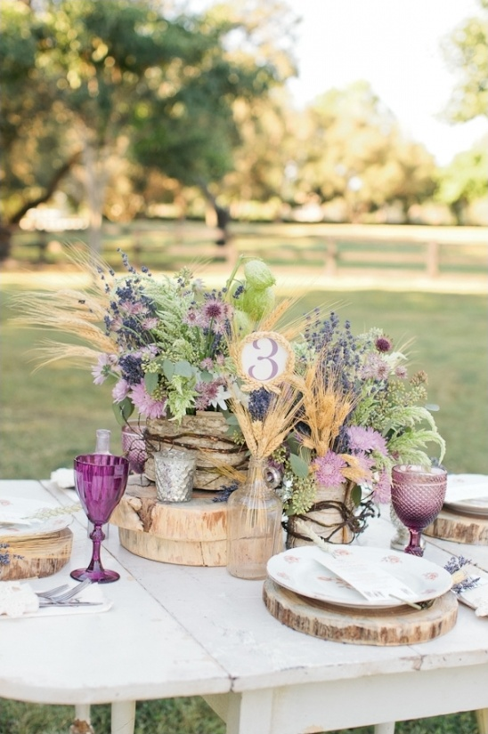 rustic lavender and wheat centerpieces