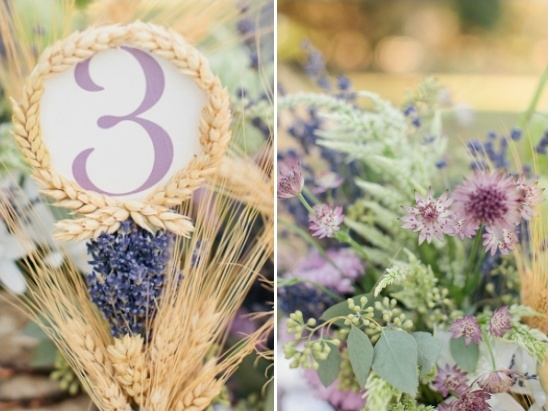 wheat framed table number idea