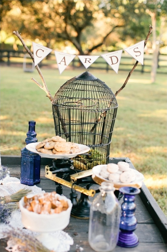 cards birdcage on the treats table