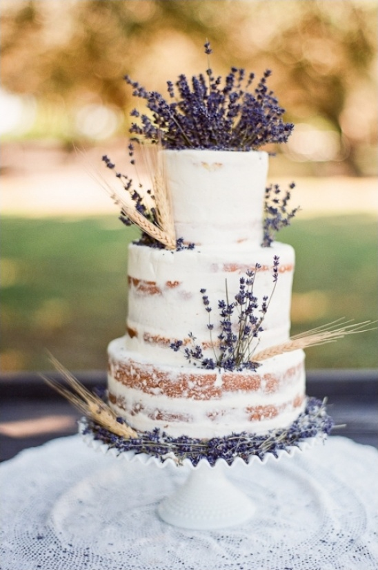 semi naked lavender wedding cake
