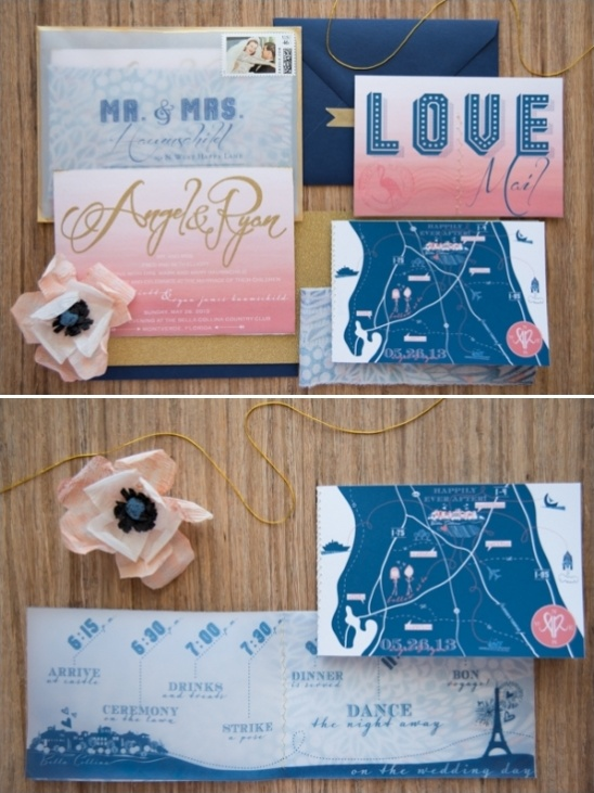 super cute pink and blue wedding invitations