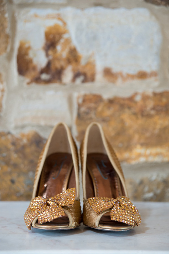 bronze bejeweled wedding shoes