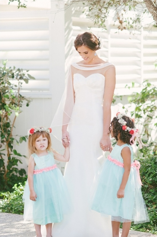 pink and mint flower girl dresses