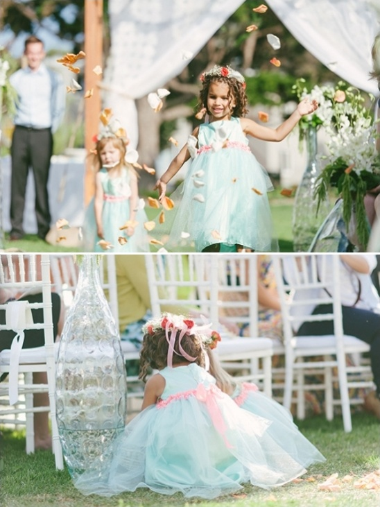pink and mint flower girls