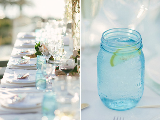 blue mason jar glasses