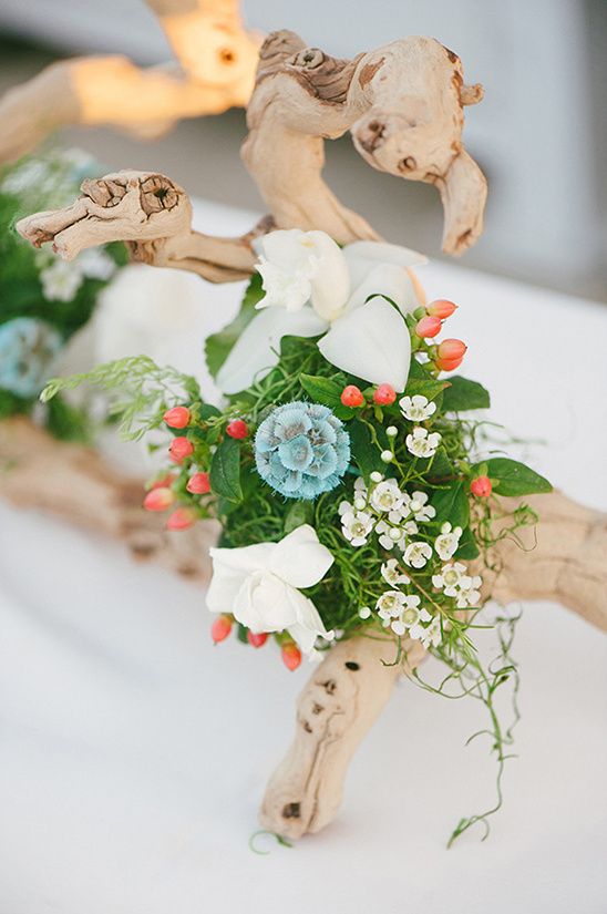 wood and floral centerpieces