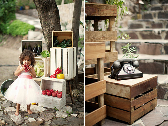 veggie crate wedding decor idea