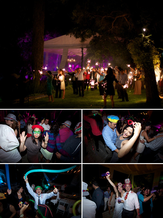 party lights and fun hats at the reception