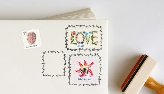 Postage Stamp Rubber Stamp Picture Frames