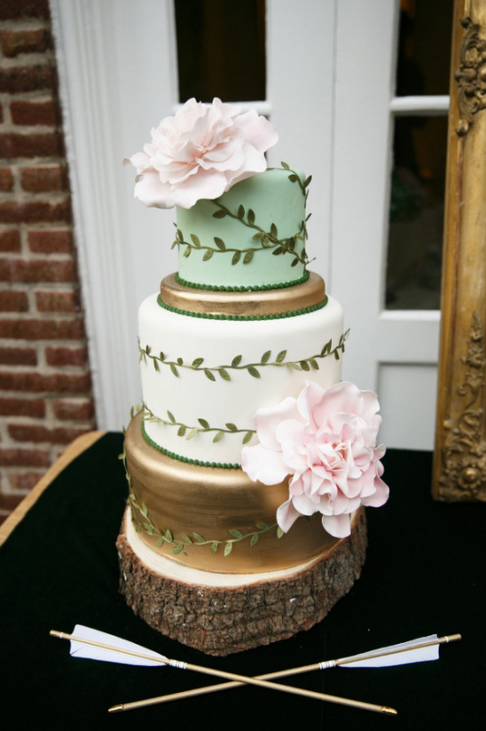 gold white and mint vine wrapped wedding cake