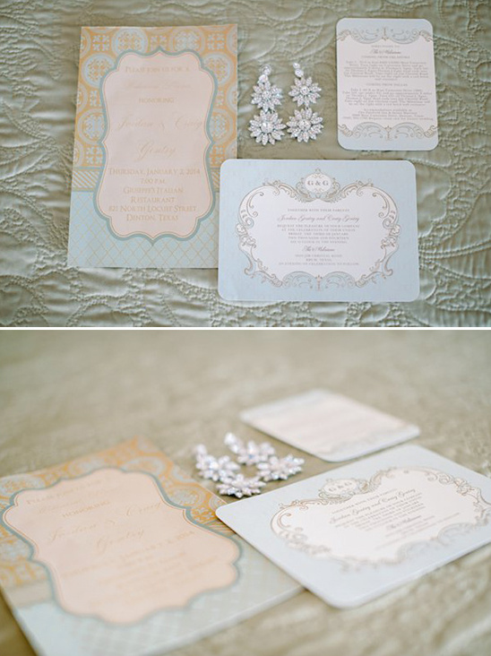 blue wedding invite