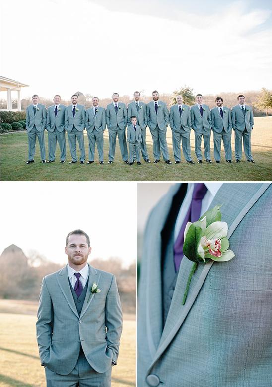 grey and dark purple groomsmen looks