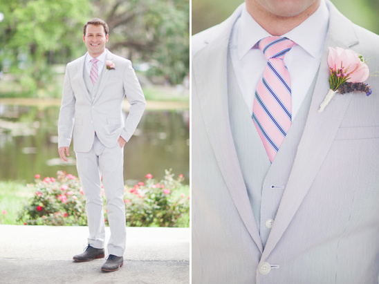 light grey and pink groom look