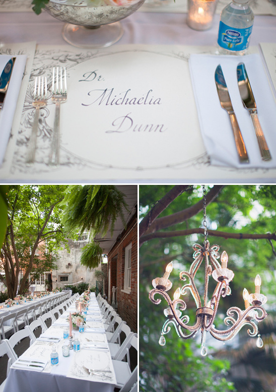 customized placemats and tree hung chandeliers