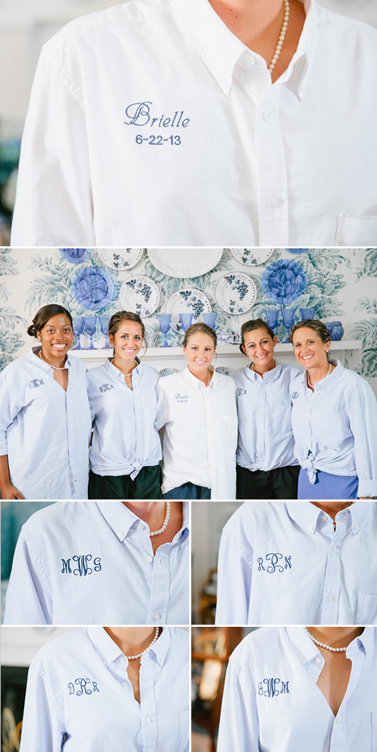 oxford monogramed bridesmaid shirt
