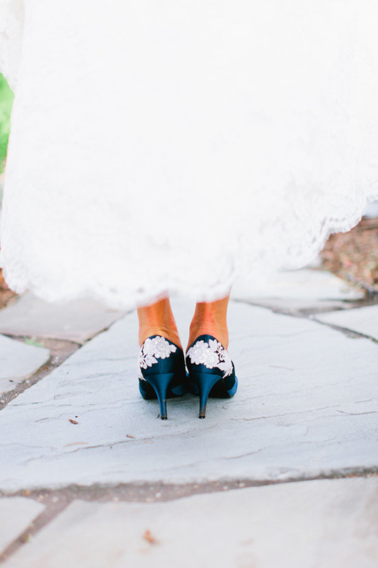 navy pumps with white lace