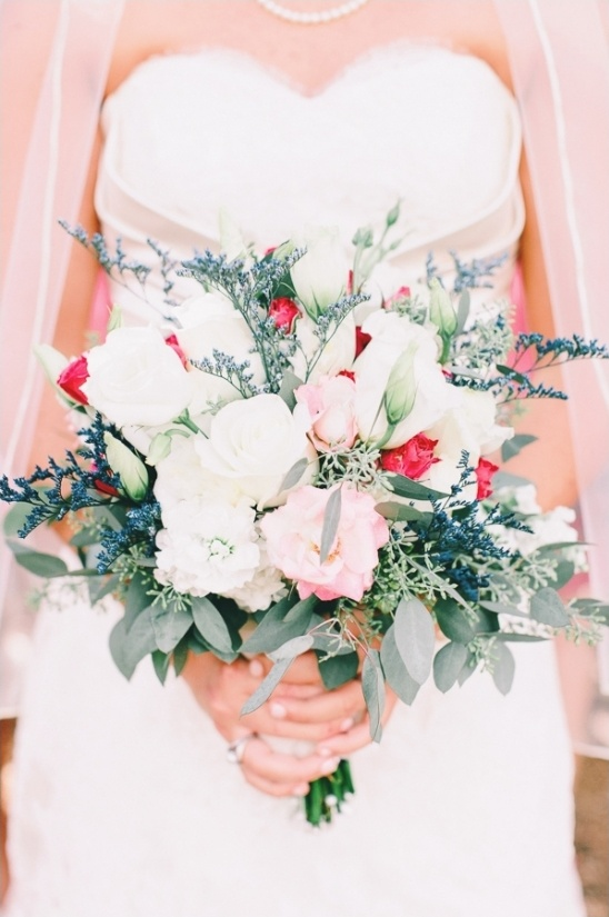 pink blue and white wedding bouquet
