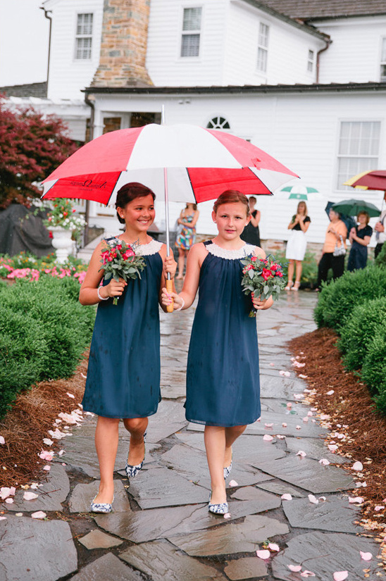 rainy day junior bridesmaids in navy