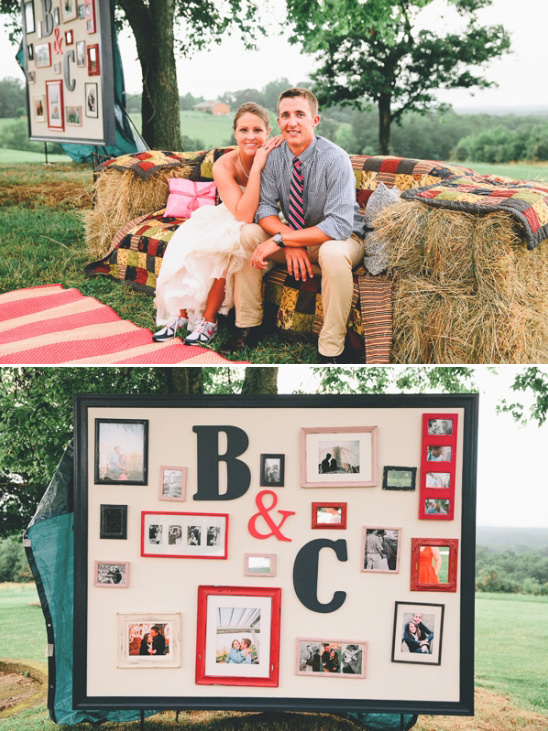 photo wall and hay bail couch