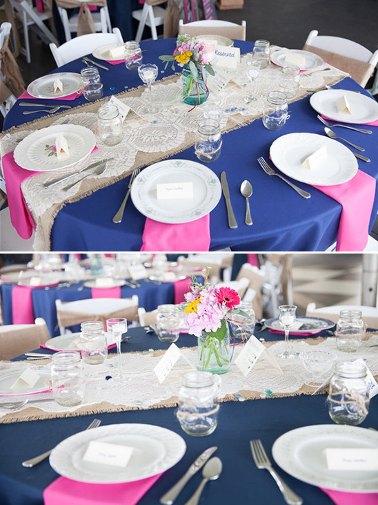 pink navy and burlap wedding