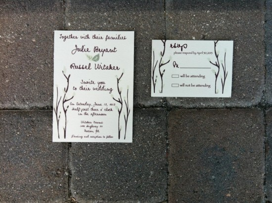 Mint Leaves and Branches Wedding Invitation