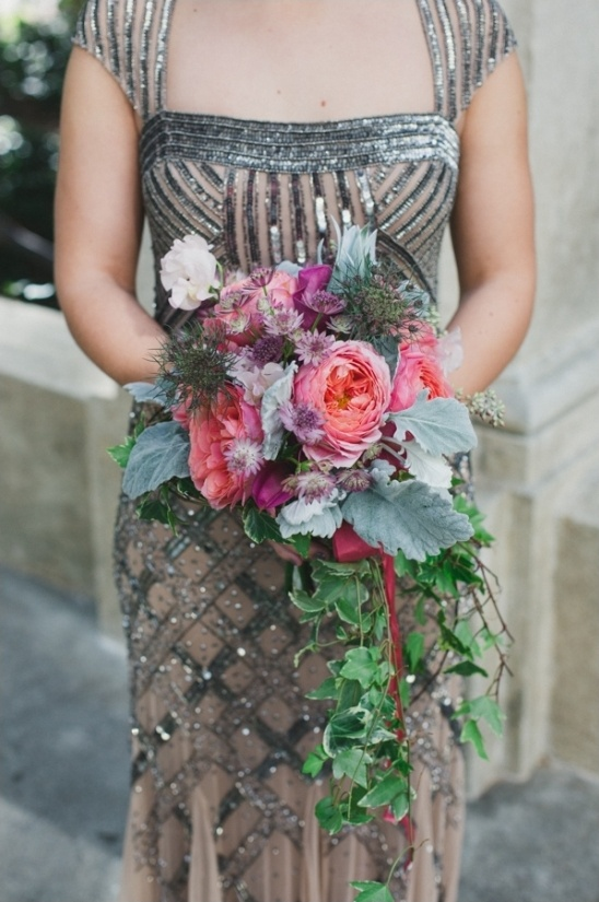 pink and purple cascading bouquet