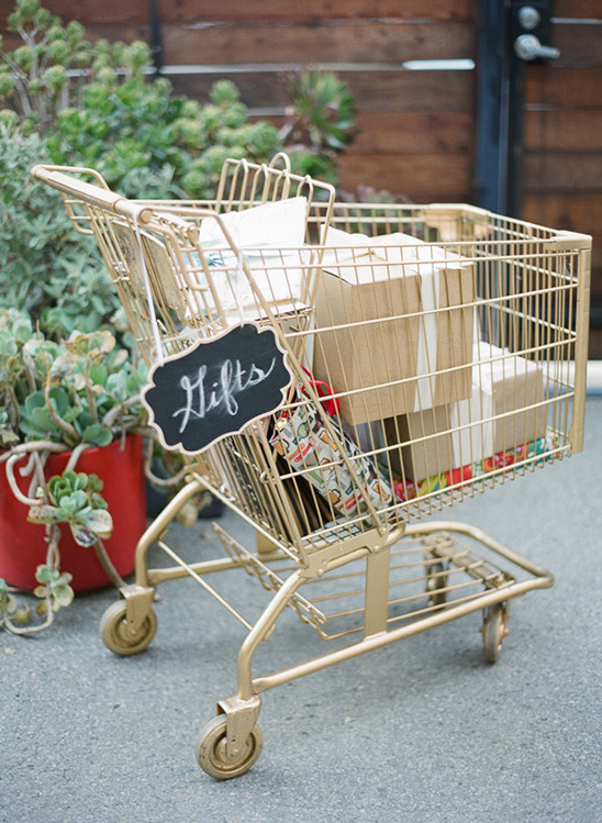 gold shopping cart for gifts