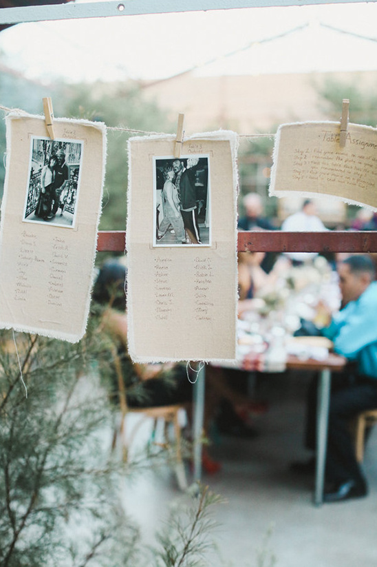 photographs as table numbers and seating chart