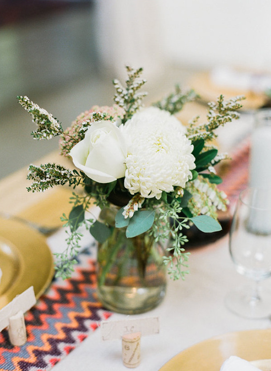 mason jar white floral centerpiece
