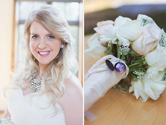 glam bridal look and memorial bouquet locket