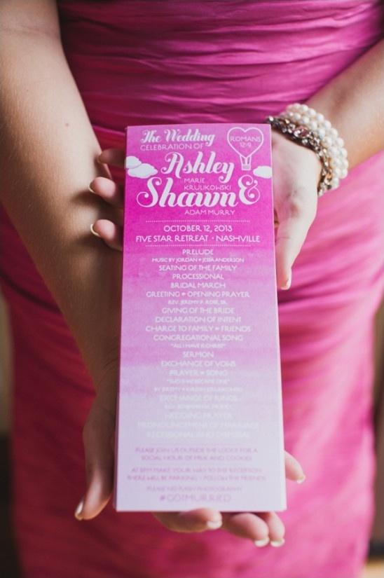 dip dyed wedding program