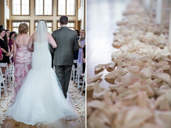 rose petal lined ceremony aisle