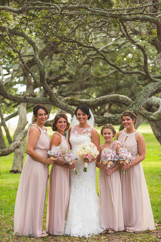floor length pink bridesmaids dresses