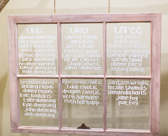 old window used for seating chart