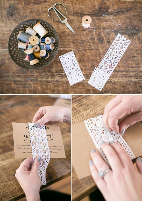 lace wrapped wedding invites