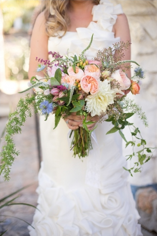 loose pastel pinks wedding bouquet
